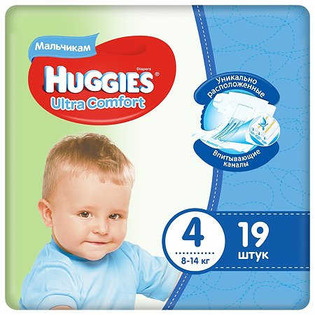 Подгузники для мальчиков Huggies Ultra Comfort 4 8-14кг 19шт
