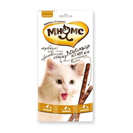 Лакомство для кошек Мнямс лакомые палочки с цыпленком и уткой 5г 3шт