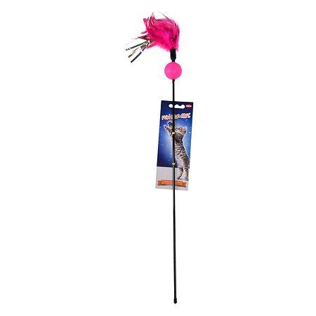Игрушка для кошек Nobby Дразнилка с перьями и погремушкой 80131
