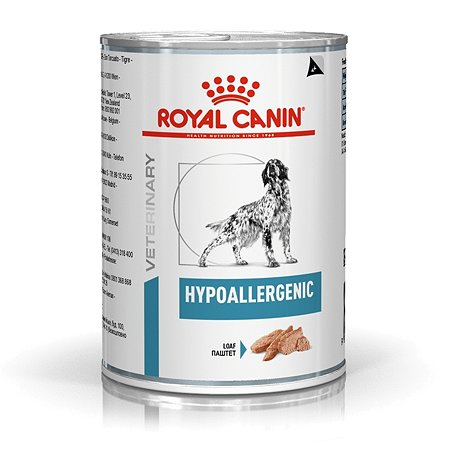 Корм для собак ROYAL CANIN Hypoallergenic при пищевой аллергии или непереносимости консервированный 200г