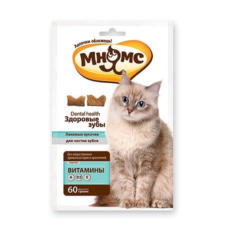 Лакомство для кошек Мнямс Здоровые зубы Хрустящие подушечки злаки-мясо 60г