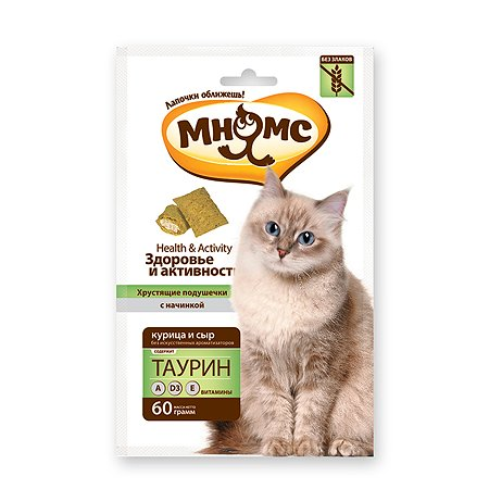 Лакомство для кошек Мнямс Здоровье и активность Хрустящие подушечки с курицей и сыром 60г