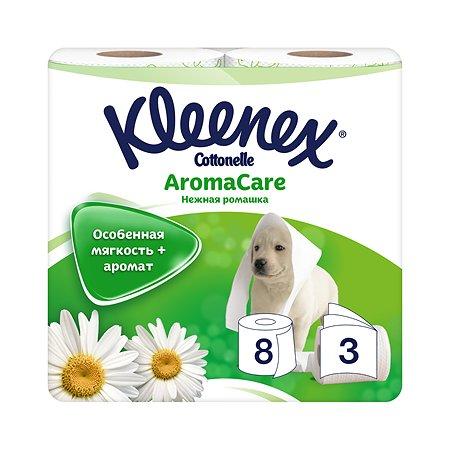 Туалетная бумага Kleenex Нежная ромашк 3 слоя 8 рулонов