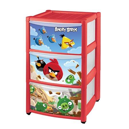 Комод Пластишка на колесах с аппликацией Angry Birds (3 ящика) в ассортименте