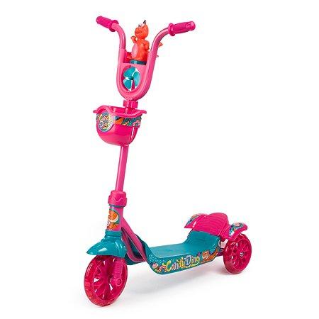 Самокат 3-х колесный Kreiss с корзиной и вертушкой Розовый