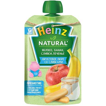 Пюре Heinz яблоко-банан-печенье-сливки 90г с 6месяцев