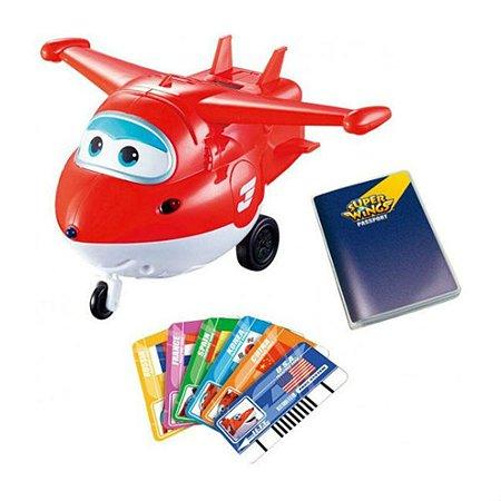 Самолет Super Wings Джетт с пластиковыми карточками разных стран (свет/звук)