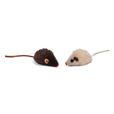 Игрушка для кошек Nobby Мышка плюшевая с погремушкой Коричнево-Бежевая 71910