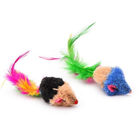 Игрушка для кошек Nobby Мышка с погремушкой и хвостиком из перьев 80111