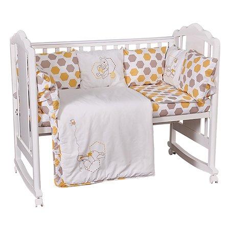 Комплект в кроватку Polini kids Disney baby Медвежонок Винни и его друзья 5предметов Макиато