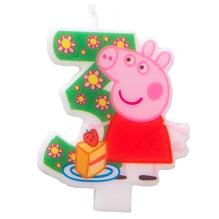 Фигурная свеча Росмэн Цифра 3 Peppa Pig