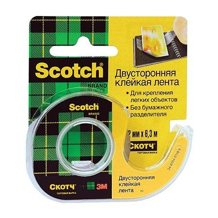Лента клейкая Scotch двусторонняя 12мм*6.3м 824799