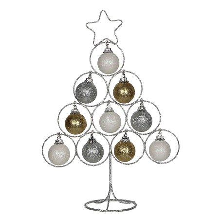 Украшение Christmas House Дерево с шарами Серебряное