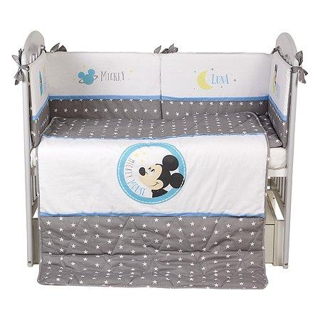 Комплект в кроватку Polini kids Disney Baby Микки Маус 5предметов Серый