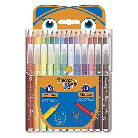 Набор BIC Кидз карандаши 18цветов+фломастеры 12цветов 964827