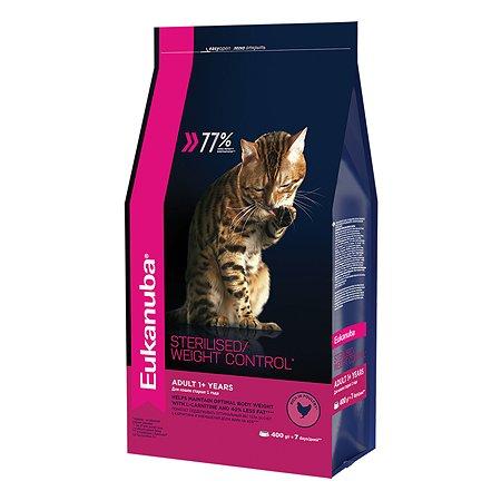 Корм сухой для кошек Eukanuba Cat 400г птица с избыточным весом и стерилизованных