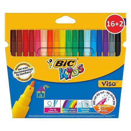 Фломастеры цветные BIC Кидз Виза 16+2цвета 987347