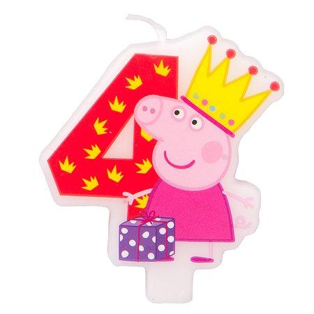 Фигурная свеча Росмэн Цифра 4 Peppa Pig