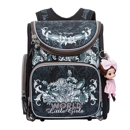 Рюкзак Grizzly для девочки цветы на узорах
