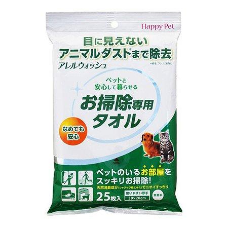 Полотенца влажные Happy Pet 2в1 для уборки следов туалета дезодарирующие запахи 25шт