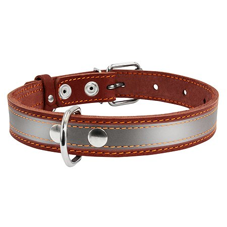 Ошейник для собак CoLLar крупных пород со светоотражающей лентой Коричневый 02986