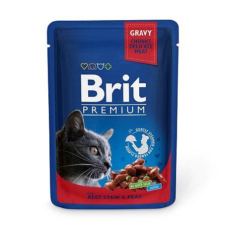 Корм влажный для кошек Brit Premium 100г говядина-горошек