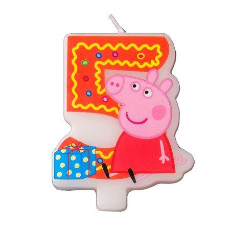 Фигурная свеча Росмэн Цифра 5 Peppa Pig