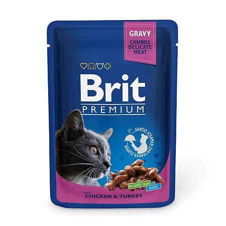 Корм влажный для кошек Brit Premium 100г курица-индейка