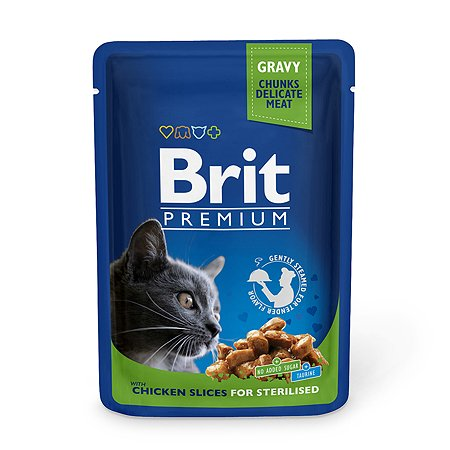 Корм влажный для кошек Brit Premium 100г курица стерилизованных