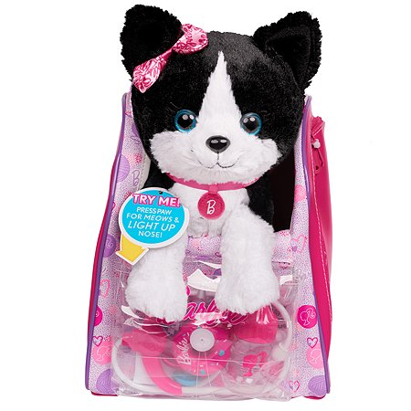 Игрушка мягкая Barbie Кошка Черно-белая с аксессуарами 61388