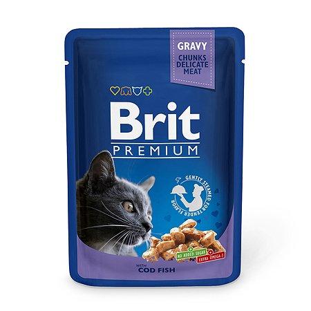 Корм влажный для кошек Brit Premium 100г треска