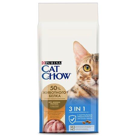 Корм сухой для кошек Cat Chow 15кг с высоким содержанием домашней птицы тройная защита