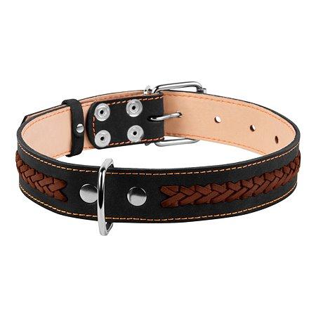 Ошейник для собак CoLLar средних пород двойной с вплетенной косой Черный 02341