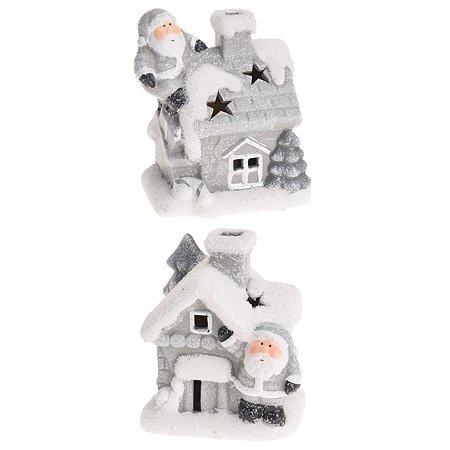 Декорация KOOPMAN Санта с домиком с подсветкой 8.3*6.2*9.5см в ассортименте ALX609823