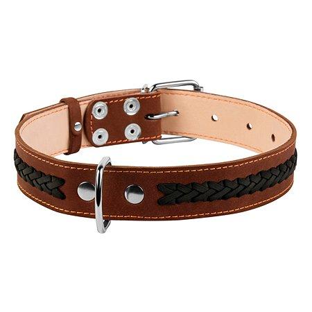 Ошейник для собак CoLLar средних пород двойной с вплетенной косой Коричневый 02346