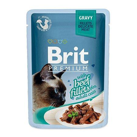 Корм влажный для кошек Brit Premium 85г говядина в соусе