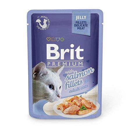 Корм влажный для кошек Brit Premium 85г лосось в желе