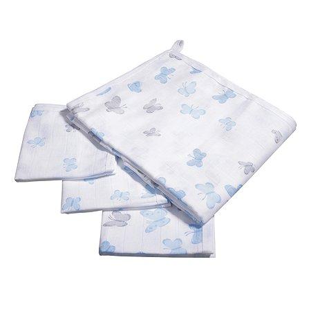 Комплект пеленок BabyEdel Бабочки 4шт Голубой 28062