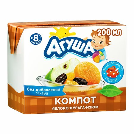 Компот Агуша курага-изюм-яблоко 0.2 л с 8 месяцев