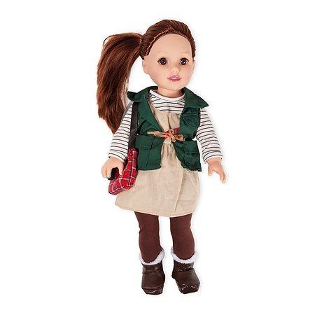 Кукла Demi Star Хлои Брюнетка в зеленом безрукавке бежевом сарафане коричневых колготках