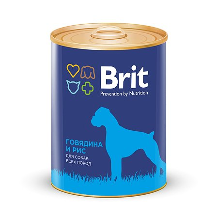 Корм для собак Brit с говядиной и рисом консервированный 850г