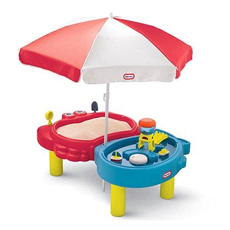 Стол-песочница Little Tikes с зонтом 2 зоны