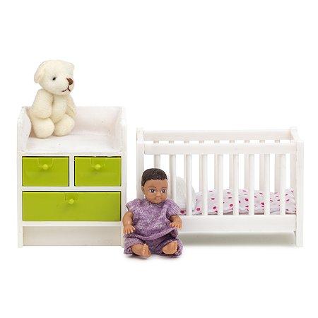 Мебель для домика Lundby Кровать и пеленальный комод 5предметов LB_60209900
