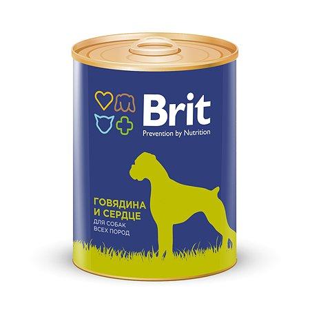 Корм для собак Brit с говядиной и сердцем консервированный 850г