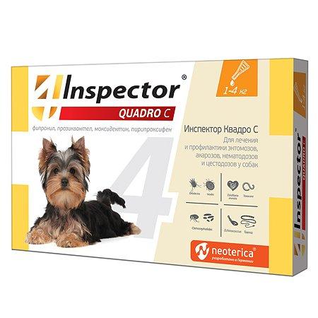 Капли для собак Inspector Quadro 1-4кг от наружных и внутренних паразитов 0.4мл