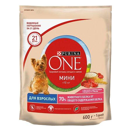 Корм для собак Purina One Mini говядина-рис 600г
