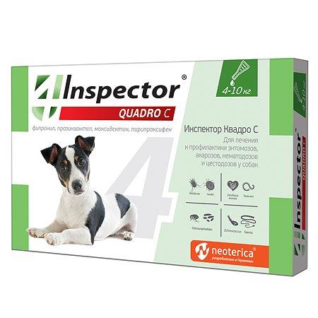 Капли для собак Inspector Quadro 4-10кг от наружных и внутренних паразитов 1мл