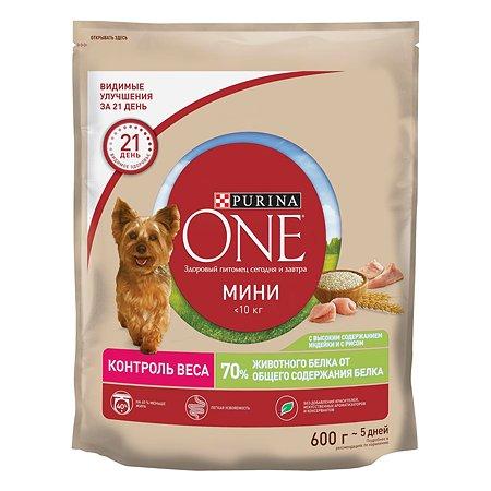Корм для собак Purina One Mini здоровый вес индейка-рис 600г