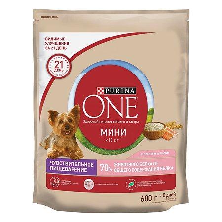 Корм для собак Purina One Mini чувствительное пищеварение лосось-рис 600г