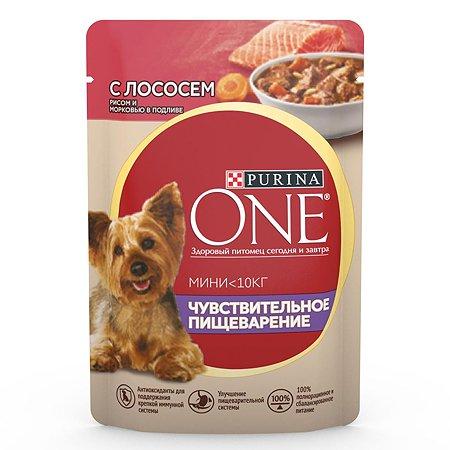 Корм для собак Purina One Mini мелких пород чувствительное пищеварение лосось-рис-морковь 85г